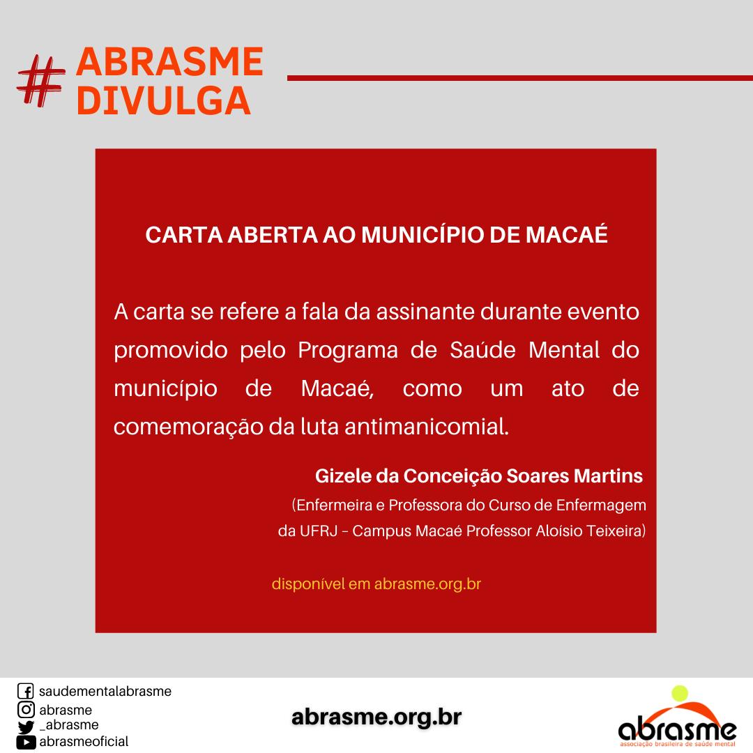 Carta aberta ao município de Macaé, por Gizele da Conceição Soares Martins