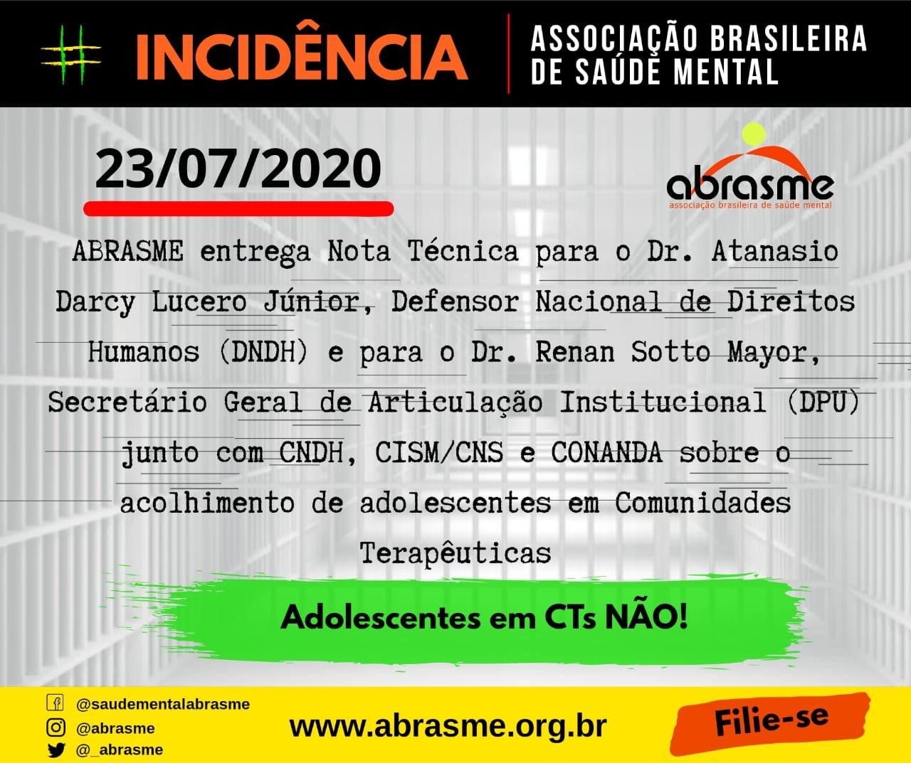 ABRASME entrega Nota Técnica para o Dr. Atanasio Darcy Lucero Junior (DNDH)