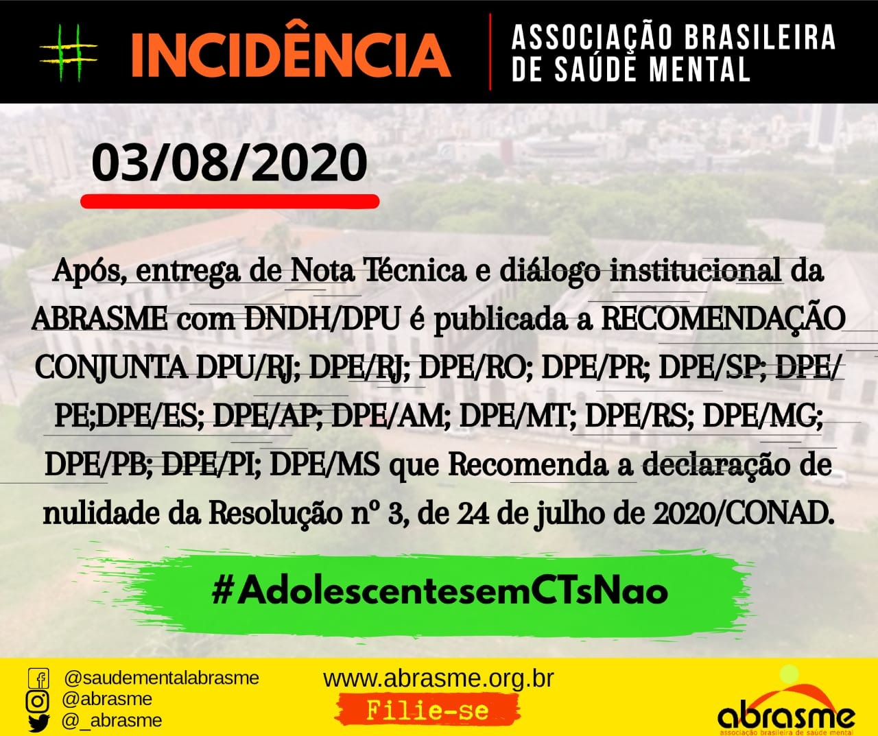 Recomendação Conjunta sobre regularização de acolhimento de adolescentes em CTs será encaminhada ao Ministério da Justiça