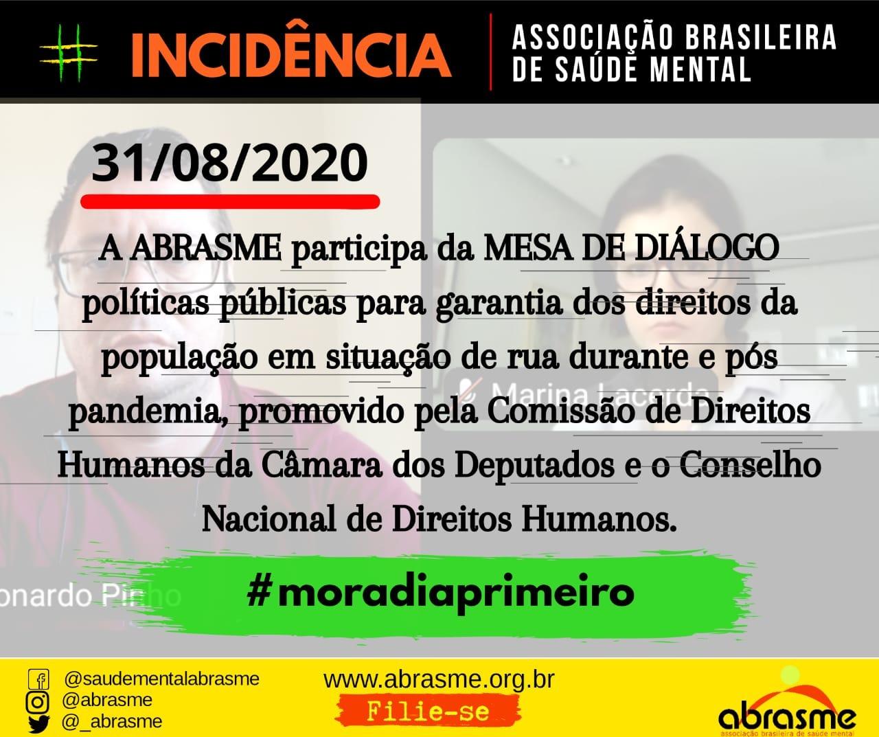 ABRASME participa da Mesa de Diálogo Políticas Públicas para Garantia dos Direitos da População em Situação de Rua