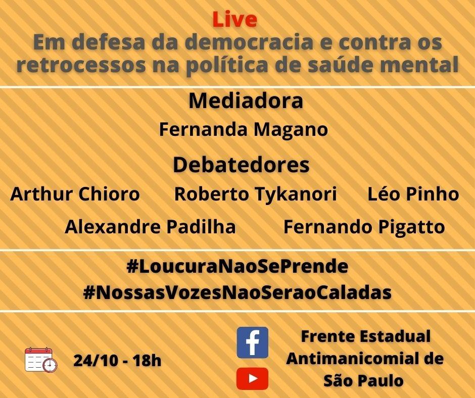 Presidente da ABRASME participa de Live sobre defesa da democracia e contra os retrocessos na política de Saúde Mental