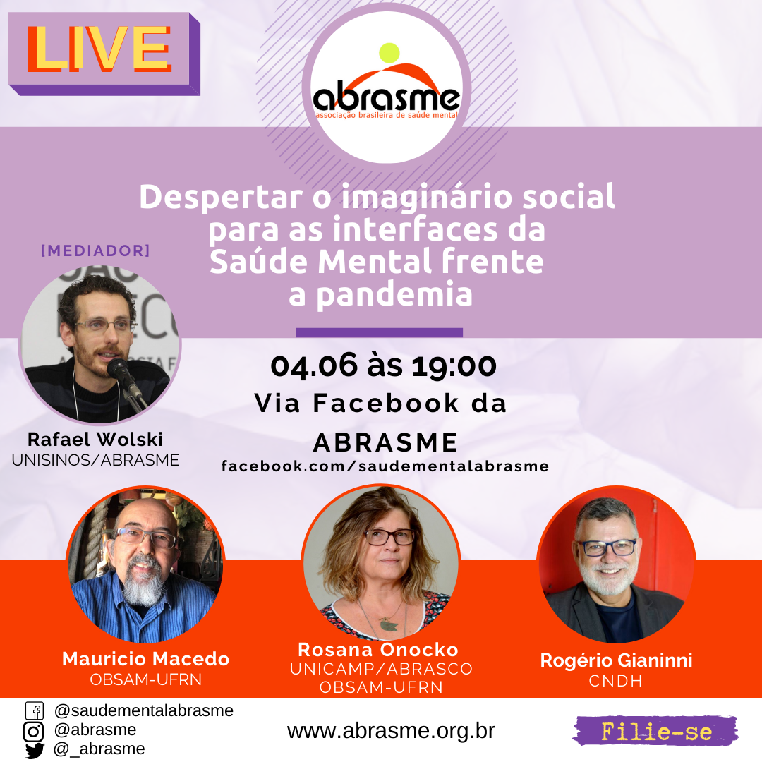 LIVE: Despertar o imaginário social para as interfaces da Saúde mental frente a pandemia